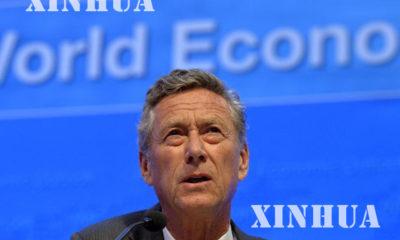 ႏိုင္ငံတကာ ေငြေၾကး ရန္ပံုေငြ အဖြဲ႕(IMF) ၏ ထိပ္တန္း စီးပြားေရး ပညာရွင္ Olivier Blanchard အား သတင္းစာ ရွင္းလင္းပြဲ တစ္ခုတြင္ ျမင္ေတြ႔ရစဥ္ (ဆင္ဟြာ)