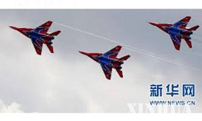 ႐ု႐ွား ႏိုင္ငံမွ MiG-29 တိုက္ေလယာဥ္မ်ား ပ်ံသန္း ေနစဥ္ (ဆင္ဟြာ)