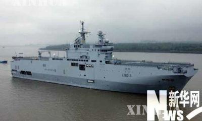 ျပင္သစ္ ႏိုင္ငံ၏ Mistral-class ကုန္းေရ ႏွစ္သြယ္ တိုက္ခိုက္ေရး သေဘၤာအား ျမင္ေတြ႕ ရစဥ္ (ဆင္ဟြာ)