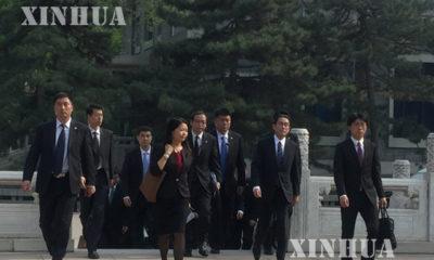 ဂျပန်နိုင်ငံခြားရးဝန်ကြီး ဖူမီယို ကီရှီဒါနှင့် ကိုယ်စားလှယ်အဖွဲ့အား တွေ့ရစဉ် (ဆင်ဟွာ)
