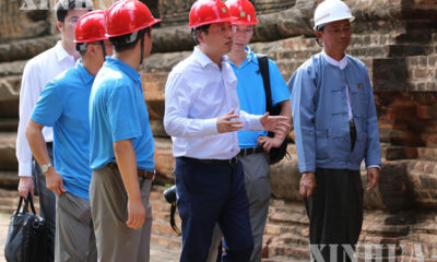 ငလျင်ဒဏ်သင့် စေတီပုထိုးများအား မြန်မာနိုင်ငံဆိုင်ရာ တရုတ် သံအမတ်ကြီး အပါအဝင် ပညာရှင်များ လေ့လာ စစ်ဆေးနေစဉ်(ဆင်ဟွာ)
