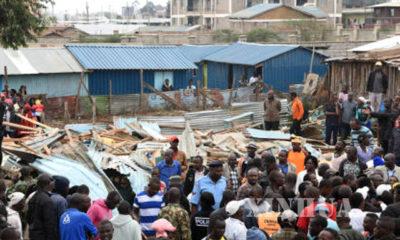 ကင်ညာ နိုင်ငံ၌ စာသင်ခန်း ပြိုကျမှုများ ဖြစ်ပွားခဲ့သည့် မြင်ကွင်းအား တွေ့ရစဉ်(ဆင်ဟွာ)