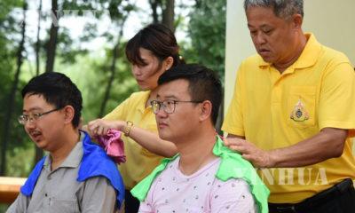 ထိုင်းရိုးရာအနှိပ်ပညာဖြင့် အနှိပ်ခံနေကြသူများအား တွေ့ရစဉ် (ဆင်ဟွာ)