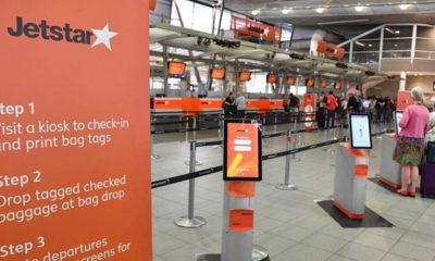 ဩစတြေးလျနိုင်ငံ နိုင်ငံတကာလေဆိပ်တစ်ခု၌ Jetstar လေကြောင်းလိုင်းမှ ဝန်ထမ်းများ အလုပ်မဆင်းသောကြောင့် လုပ်ငန်းလည်ပတ်မှု ရပ်ဆိုင်းနေသည်ကိုတွေ့ရစဉ်(ဓာတ်ပုံ-အင်တာနက်)