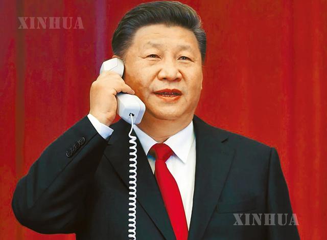 တရုတ် နိုင်ငံ သမ္မတ ရှီကျင့်ဖိန် ဖုန်းပြောနေသည် ကို မြင်တွေ့ရစဉ်(ဆင်ဟွာ)