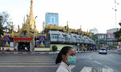 ရန်ကုန်မြို့တွင်း Mask တပ်ဆင်သွားလာနေမှုအားတွေ့ရစဉ်(ဆင်ဟွာ)