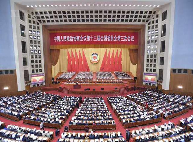 ၁၃ ကြိမ်မြောက် တရုတ်ပြည်သူ့နိုင်ငံရေးဆွေးနွေးညှိနှိုင်းမှုညီလာခံ ကျင်းပနေသည်ကို တွေ့ရစဉ် (ဆင်ဟွာ)