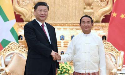 တရုတ်နိုင်ငံ သမ္မတ ရှီကျင့်ဖိန် နှင့် မြန်မာနိုင်ငံ သမ္မတ ဦးဝင်းမြင့်တို့အား ၂၀၂၀ ပြည့်နှစ် ဇန်နဝါရီလဆန်းပိုင်းက နေပြည်တော်၌ အတူတကွတွေ့ဆုံစဉ်(ဆင်ဟွာ)
