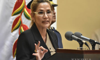 ဘိုလီးဗီးယားနိုင်ငံ ကြားဖြတ်သမ္မတ Jeanine Anez အား တွေ့ရစဉ် (ဆင်ဟွာ)