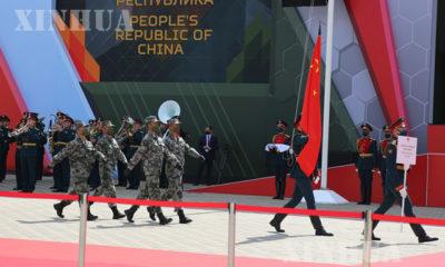 ရုရှားနိုင်ငံ မော်စကိုမြို့တွင် ကျင်းပသော ၂၀၂၀ ပြည့်နှစ် နိုင်ငံတကာ စစ်ဘက်ဆိုင်ရာအားကစားပွဲနှင့် Army-2020 နိုင်ငံတကာ စစ်ဘက်ဆိုင်ရာနည်းပညာဖိုရမ် ဖွင့်ပွဲအခမ်းအနား ပြုလုပ်ရာအားကစားရုံသို့ တရုတ်နိုင်ငံမှ ကိုယ်စားလှယ်အဖွဲ့များ ဝင်ရောက်လာစဉ် (ဆင်ဟွာ