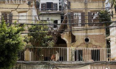 လက်ဘနွန်နိုင်ငံ ဘေရွတ်မြို့တွင် ပေါက်ကွဲမှုကြောင့် ပျက်စီးသွားသည့် အဆောက်အအုံတစ်ခုအား တွေ့ရစဉ် (ဆင်ဟွာ)