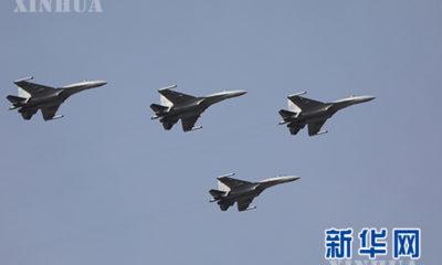 ရုရှား နိုင်ငံ မှ ထုတ်လုပ်သည့် Su-35S တိုက်လေယာဉ် များအား မြင်တွေ့ရစဉ်(ဆင်ဟွာ)