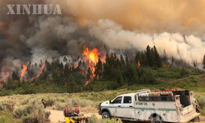 အမေရိကန်နိုင်ငံ ကော်လိုရာဒိုပြည်နယ်တွင် တောမီးများအကြီးအကျယ်လောင်ကျွမ်းနေသည်ကို ဩဂုတ် ၈ ရက်ကတွေ့ရစဉ်(ဆင်ဟွာ)