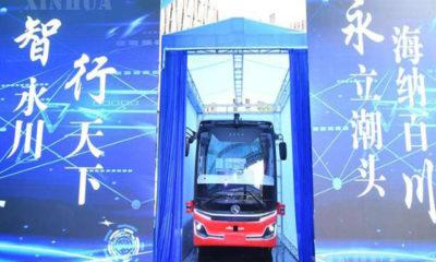 တရုတ်နိုင်ငံ အနောက်တောင်ပိုင်း ချုံချင့်မြူနီစီပယ်တွင် L4 မောင်းသူမဲ့ဘတ်စ်ကား ပွဲဦးထွက်ပြသစဉ် (ဆင်ဟွာ)