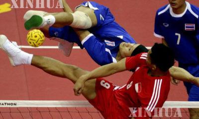 ၂၇ ကြိမ်မြောက် အရှေ့တောင်အာရှ အားကစားပြိုင်ပွဲတွင် ပိုက်ကျော်ခြင်း ပြိုင်ပွဲ ကျင်းပပြုလုပ်နေစဉ် (ဆင်ဟွာ)