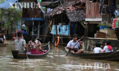 ၂၀၁၈ ခုနှစ် ကရင်ပြည်နယ် ဘားအံ မြို့နယ် အတွင်း ရေဘေး ဖြစ်ပွားမှုအား တွေ့ရစဉ်(ဆင်ဟွာ)