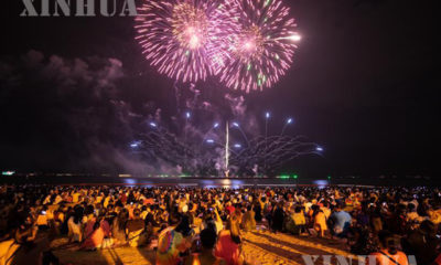 """ထိုင်းနိုင်ငံပတ္တယားကမ်းခြေ၌ ၂၀၂၀ ပြည့်နှစ် နိုဝင်ဘာ ၂၇ ရက်က """"light is life"""" ဆောင်းပုဒ်ဖြင့် ကျင်းပပြုလုပ်သည့် မီးထွန်းပွဲတော် မြင်ကွင်းများအားတွေ့ရစဉ်(ဆင်ဟွာ)"""