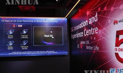ဗြိတိန်နိုင်ငံတွင် ကျင်းပပြုလုပ်ခဲ့သည့် ပြပွဲ တစ်ခု တွင် Huawei ကုမ္ပဏီ ၏ 5G နည်းပညာဆိုင်ရာ ပြခန်းတစ်ခုအား တွေ့ရစဉ်(ဆင်ဟွာ)