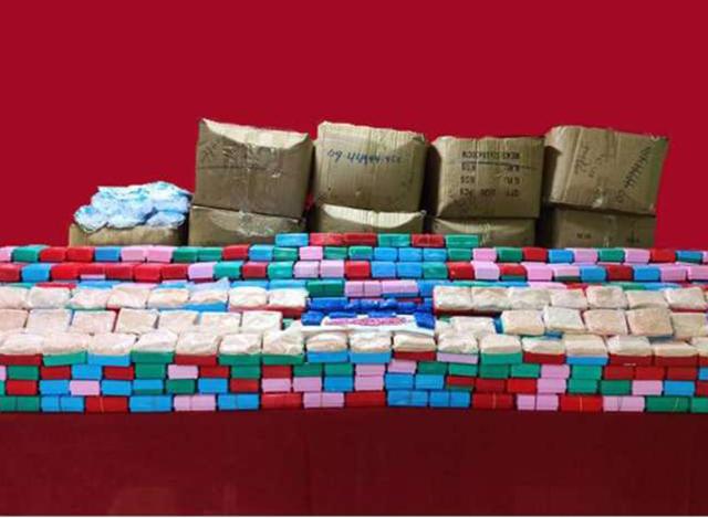 သိမ်းဆည်းရမိသော မူးယစ်ဆေးဝါးများအားတွေ့ရစဉ်(CCDAC Myanmar)