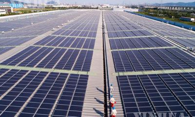 တရုတ်နိုင်ငံ အရှေ့ပိုင်း ကျဲ့ကျန်း (Zhejiang) ပြည်နယ် Huzhou တွင် လျှပ်စစ်ဓာတ်အားထုတ်လုပ်ပေးသည့် နေရောင်ခြည်စွမ်းအင်သုံး ဆိုလာပြားများ တပ်ဆင်ထားသည်ကိုတွေ့ရစဉ်(ဆင်ဟွာ)