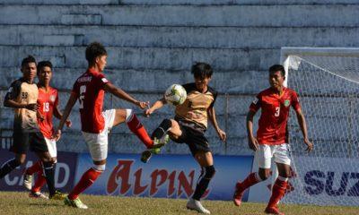 ယူ-၂၁ ဘောလုံးအသင်း ယှဉ်ပြိုင်ကစားနေမှုအားတွေ့ရစဉ် (ဓာတ်ပုံ--Myanmar National League)