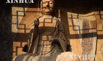 တရုတ်နိုင်ငံ ကန်းစုပြည်နယ် ပိုးလမ်းမကြီးတွင် တည်ရှိသော ရှေးယဉ်ကျေးမှုအမွေအနှစ်လက်ရာတို့တည်ရှိရာ မိုက်ကျီးဆန်းတောင် ကျောက်လိုဏ်ဂူ၏မြင်ကွင်းများအား နိုဝင်ဘာ ၃၀ ရက်က တွေ့ရစဉ် (ဆင်ဟွာ)