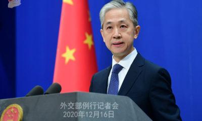 တရုတ်နိုင်ငံနိုင်ငံခြားရေးဝန်ကြီးဌာန ပြောရေးဆိုခွင့်ရှိသူ ဝမ်းဝန်ပင်း အားမြင်တွေ့ရစဉ် (ဓာတ်ပုံ-တရုတ်နိုင်ငံနိုင်ငံခြားရေးဝန်ကြီးဌာန)