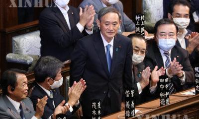 လစ်ဘရယ်ဒီမိုကရက်တစ်ပါတီ ခေါင်းဆောင်သစ် ယိုရှီဟီဒဲဆူဂါ (Yoshihide Suga)အား တိုကျိုမြို့တွင် ဂျပန်နိုင်ငံ၀န်ကြီးချုပ်အဖြစ် ရွေးကောက်တင်မြှောက်ခဲ့သည်ကို ၂၀၂၀ စက်တင်ဘာ ၁၆ရက်က တွေ့ရစဉ် (Xinhua / Du Xiaoyi)