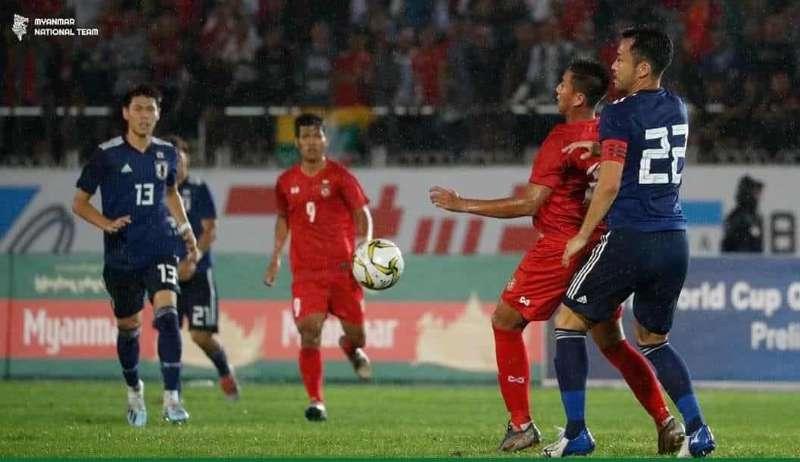 မြန်မာ့လက်ရွေးစင်အသင်းယှဉ်ပြိုင်ကစားနေစဉ် (ဓာတ်ပုံ--MFF)