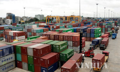 ရန်ကုန်ဆိပ်ကမ်းရှိ ကုန်သေတ္တာများအားတွေ့ရစဉ် (ဆင်ဟွာ)