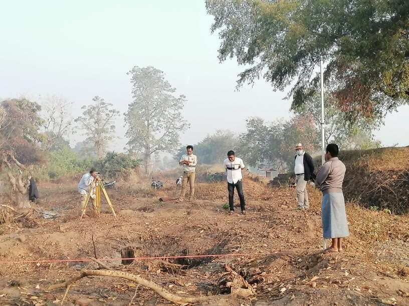 ပျူမြို့ဟောင်းရှိ သရေခေတ္တရာနန်းတော်ရာအား မြေလွှာစမ်းသပ်မှုများပြုလုပ်စဉ် (သရေခေတ္တရာဌာနစု ကမ္ဘာ့အမွေအနှစ်ဒေသများဌာနခွဲ)