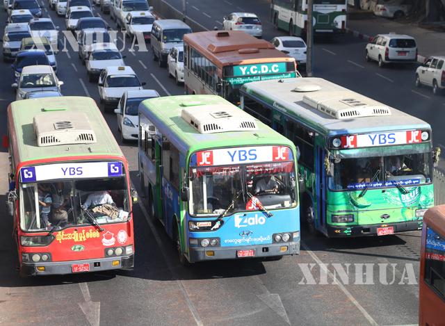 ရန်ကုန်မြို့ရှိ YBS ယာဉ်လိုင်းအချို့အားတွေ့ရစဉ် (ဆင်ဟွာ)