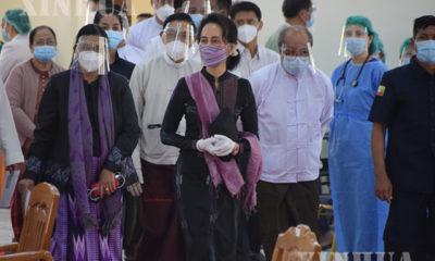 နေပြည်တော်၊ သူနာပြု သင်တန်းကျောင်းသို့ နိုင်ငံတော်၏ အတိုင်ပင်ခံ ပုဂ္ဂိုလ်နှင့် အဖွဲ့ လာရောက် ကြည့်ရှုစဉ်(ဆင်ဟွာ)