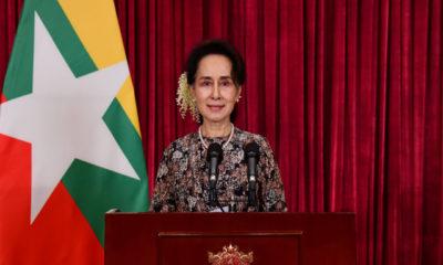 နိုင်ငံတော်၏အတိုင်ပင်ခံပုဂ္ဂိုလ် ဒေါ်အောင်ဆန်းစုကြည် က ယနေ့ပြည်သူများသို့ အစီရင်ခံတင်ပြသောမိန့်ခွန်းပြောကြားစဉ်(ဓာတ်ပုံ-နိုင်ငံတော်၏အတိုင်ပင်ခံရုံး)