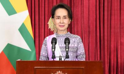 နိုင်ငံတော်၏အတိုင်ပင်ခံပုဂ္ဂိုလ် ဒေါ်အောင်ဆန်းစုကြည်က ရောဂါဖြစ်ပွားမှု နောက်ဆုံးအခြေအနေနှင့် စပ်လျဉ်း၍ မိန့်ခွန်းပြောကြားစဉ်(ဓာတ်ပုံ - အတိုင်ပင်ခံပုဂ္ဂိုလ်ရုံး)