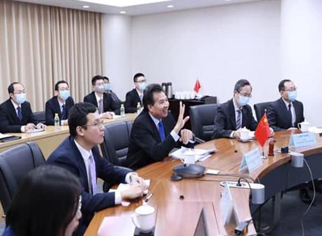 တရုတ်-မြန်မာ-ဘင်္ဂလားဒေ့ရှ် ဒုတိယဝန်ကြီးအဆင့် သုံးပွင့်ဆိုင် အလွတ်သဘောဆွေးနွေးပွဲ ပြုလုပ်စဉ် (ဓာတ်ပုံ - Chinese Embassy in Myanmar)