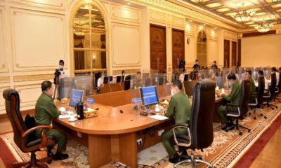 နိုင်ငံတော်စီမံအုပ်ချုပ်ရေးကောင်စီဥက္ကဋ္ဌ တပ်မတော်ကာကွယ်ရေး ဦးစီးချုပ် ဗိုလ်ချုပ်မှူးကြီး မင်းအောင်လှိုင်နှင့် ပြည်ထောင်စုဝန်ကြီးများ၊ ပြည်ထောင်စုအဆင့် အဖွဲ့အစည်းများမှ တာဝန်ရှိသူများနှင့် တွေ့ဆုံပွဲကျင်းပစဉ်(တပ်မတော်သတင်းမှန်ပြန်ကြားရေးအဖွဲ့)