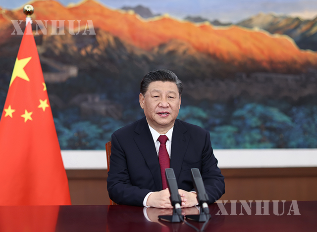 တရုတ်နိုင်ငံ သမ္မတ ရှီကျင့်ဖိန်အား အာရှဒေသဆိုင်ရာ ဘိုးအောက်ဖိုရမ် (BFA) နှစ်ပတ်လည်ကွန်ဖရင့် ဖွင့်ပွဲအခမ်းအနား၌ ဗီဒီယိုမှတစ်ဆင့် မိန့်ခွန်းပြောကြားနေသည်ကို တွေ့ရစဉ် (ဆင်ဟွာ)