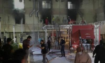 အီရတ်နိုင်ငံဘဂ္ဂဒတ်မြို့ရှိ ကိုရိုနာဗိုင်းရပ်စ်လူနာကုသရေးဆေးရုံ ဧပြီ ၂၄ ရက်ညပိုင်းက မီးလောင်မှုဖြစ်ပွားပြီးနောက် တွေ့ရစဉ်(ဓာတ်ပုံ-အင်တာနက်)