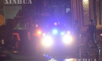 အင်ဒိုနီးရှားနိုင်ငံဂျကာတာမြို့ရှိ ရဲဌာနချုပ်ရှေ့တွင် မတ် ၃၁ ရက် ညပိုင်းက အင်ဒိုနီးရှားအကြမ်းဖက်မှုတန်ပြန်တိုက်ဖျက်ရေးအဖွဲ့က နေရာယူထားစဉ်(ဆင်ဟွာ)