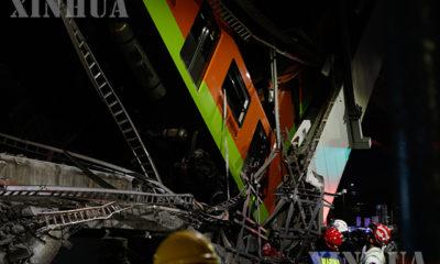 မက္ကဆီကိုနိုင်ငံ မက္ကဆီကိုစီးတီးတွင် ကောင်းကင်ရထားလမ်းပြိုကျသည့်နေရာအား မေ ၃ ရက်က တွေ့ရစဉ် (ဆင်ဟွာ)