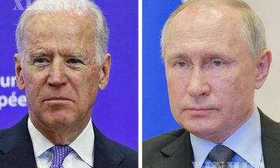 အမေရိကန်နိုင်ငံသမ္မတ ဂျိုးဘိုင်ဒန်(ဝဲ) နှင့် ရုရှားနိုင်ငံသမ္မတ ဗလာတီမာပူတင်(ယာ) တို့အားတွေ့ရစဉ်(ဆင်ဟွာ)