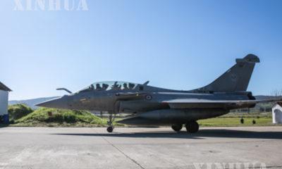 ဂရိနိုင်ငံရှိ လေတပ်အခြေစိုက်စခန်းတစ်ခုတွင် Rafale တိုက်လေယာဉ် တစ်စင်းအား တွေ့ရစဉ်(ဆင်ဟွာ)